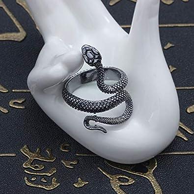 Eiffy Retro Punk Exaggerated Spirit Cobra Snake Animal Finger Ring Personality Stereoscopic Opening Adjustable Ring Jewelry