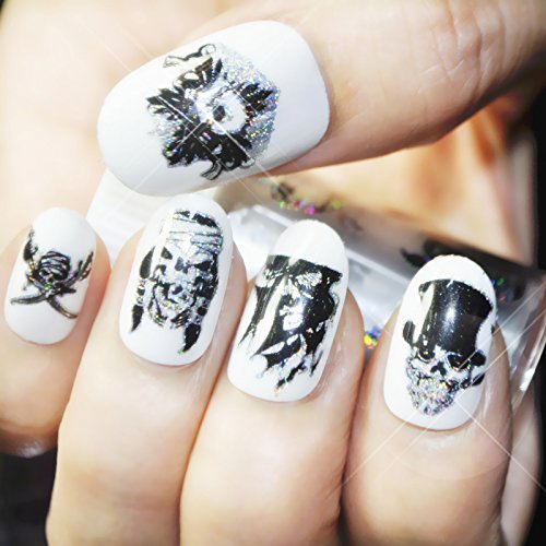 (CoolNail 1 Roll Skull Nail Foil Manicure Halloween Decoration Nail Art Transfer Sticker Holographic Starry Paper Decals DIY Nail)