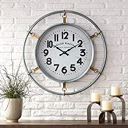 Newhill Designs Swindon Glossy Silver 29 1/4 High Round Wall Clock