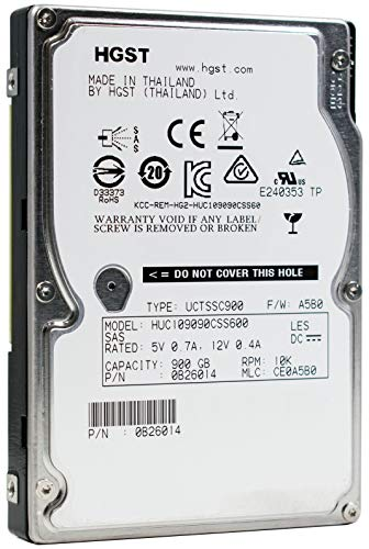 HGST Ultrastar C10K900 | HUC109090CSS600 | 0B26014 | 900GB 10K RPM SAS 6.0Gb/s 64MB Cache | 2.5in SFF | 512n | Cache Enterprise Hard Disk Drive HDD (Renewed) ()