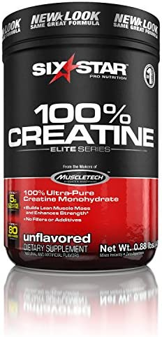 Six Star Elite Series 100 Micronized Creatine Monohydrate Powder, Muscle Builder Recovery, Unflavoured, 80 Servings 400g