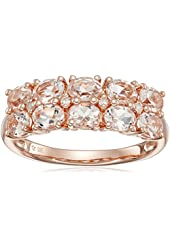 Sterling Silver Morganite and Diamond Band Ring, Size 7