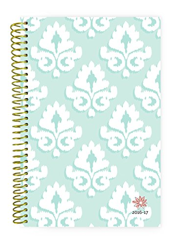 "Bloom Daily Planners 2016-17 Academic Year Daily Planner - Passion/Goal Organizer - Monthly Weekly Agenda Datebook Diary - August 2016 - July 2017 - 6"" x 8.25"" - Mint Damask"