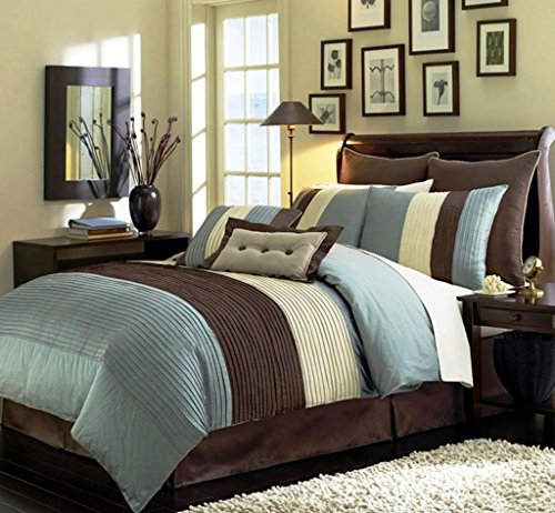 Legacy Decor 8pcs Full Size Blue, Beige and Brown Faux Silk Striped Comforter Set Bed in a Bag
