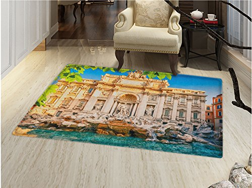 smallbeefly Italy Door Mats for inside Fountain Di Trevi Famous Travel Destination Tourist Attraction European Landmark Bath Mat for tub Bathroom Mat Multicolor by smallbeefly