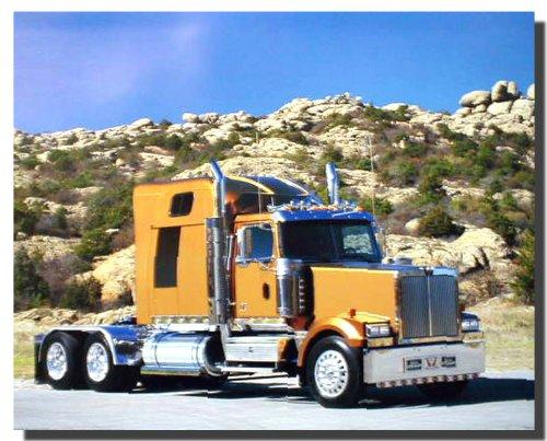 Gold Big Rig Richard Stockton Semi Classic Truck Wall Decor Art Print Poster (16x20) (Semi Truck Wall Art)
