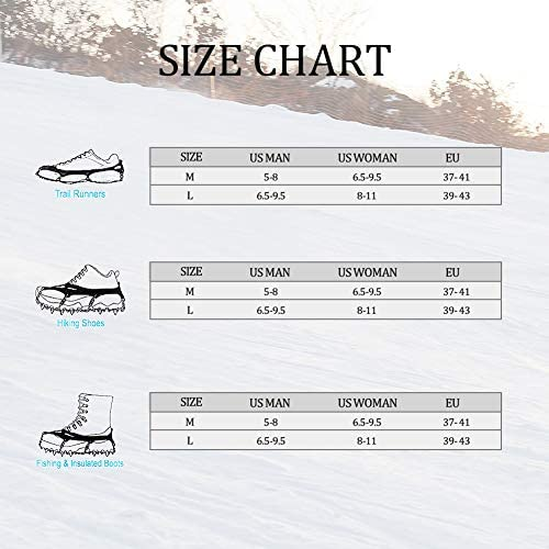 IDAND 12 Spikes Crampons Ice Snow Grips Traction Cleats System Safe Protect for Walking, Jogging, or Hiking on Snow and Ice (Fit M/L Shoes/Boots)