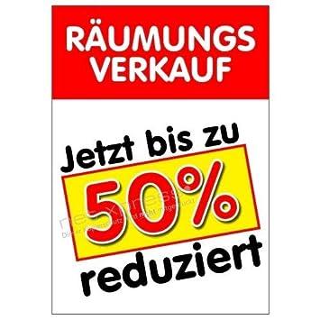 cbf822805f0286 Plakat Räumungsverkauf Bis zu 50% reduziert A1