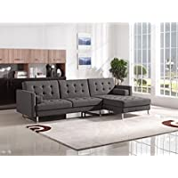 Opus Convertible Tufted RF Chaise Sectional by Diamond Sofa - GREY, Includes Left Face Sofa, Right Face Chaise- # OPUSRFSECTGR