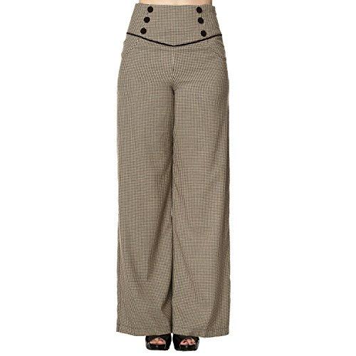 Vintage Pantaloni Retro 1940s Sportivi Gamba Larga Banned de 1950s Pied Alta Vita Marrone poule SpHcqUw7