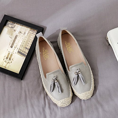 Xue Qiqi Presidente Pescador Zapatos Boca Superficial Pereza Zapata de Cabeza Redonda de Cuero Solo Zapatos Femeninos guarnecido Pajarita Zapatos de Mujer Gris