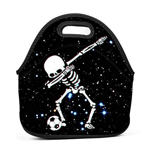 Soccer Ball Dab Skull Fashionable Custom Neoprene Lunch Bag Insulated Lunch Box for Women/Men/Kids/Girls and Boys