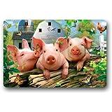 """Oil Painting Three Little Pigs Art Funny Pig Pet Non-woven Fabric Door Mat Indoor/Outdoor/Bathroom Doormat Rugs for Home/Office/Bedroom 23.6""""(L) x 15.7""""(W)"""