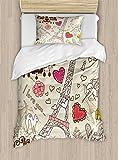 Ambesonne Paris Decor Duvet Cover Set, Doodles Illustration of Eiffel Tower Hearts Chandelier Flower Love Valentines Vintage, 2 Piece Bedding Set with Pillow Sham, Twin/Twin XL, Beige Pink