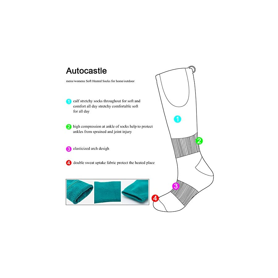 Autocastle Electric Heated Socks,Rechargeable Battery Powered Heating Socks Men Women,Sports Outdoors Winter Warm Socks Kit Chronically Cold Feet,Camping Hiking Climbing Foot Warmer