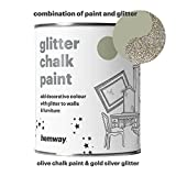 Hemway Olive Chalk Paint (with Silver Gold Glitter) Sparkle Matt finish Wall and Furniture Paint 1L / 35oz Shabby Chic Vintage Chalky Crystal (25 Glittery Colours Available)