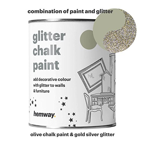 Hemway Olive Chalk Paint (with Silver Gold Glitter) Sparkle Matt finish Wall and Furniture Paint 1L/35oz Shabby Chic Vintage Chalky Crystal (25 Glittery Colours Available)