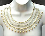 OTAZU Collar Style Necklace with Swarovski Crystals and Cream Pearls