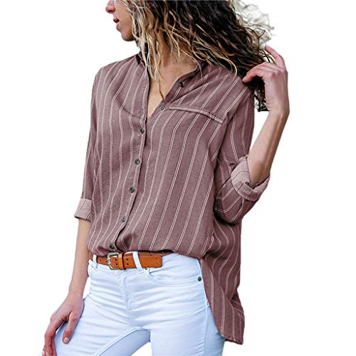 Women Roll-Up Long Sleeve Stripe Shirt Tunic V Neck Casual Pullover Button Down Blouses Tops Coffee