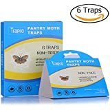 Pantry Moth Traps with Pre-Baited Safe Pheromone Attractant, Odor-Free, Insecticide-Free and Non-Toxic (6 Traps)