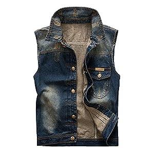 Vintage Men's Jeans Vest Ripped Cowboy Denim Waistcoat Sleeveless Jacket