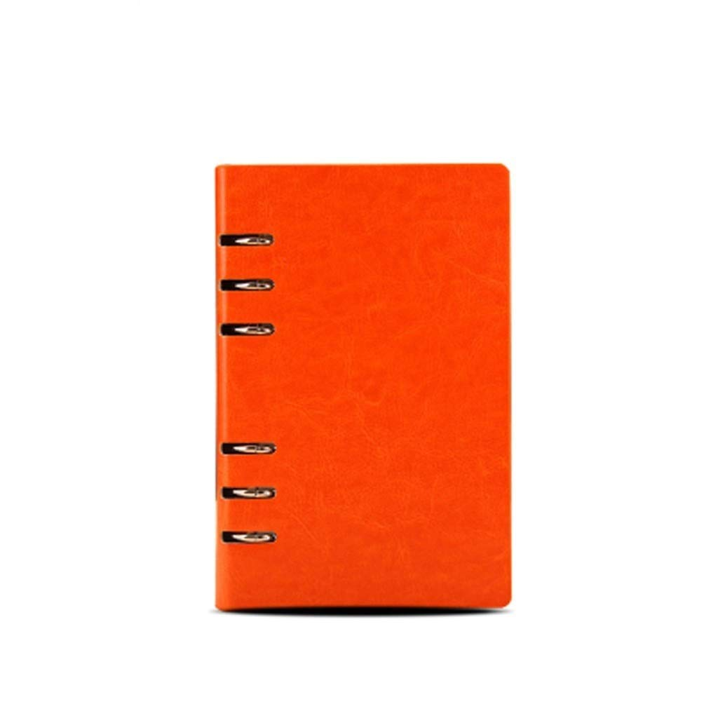 FS A6 Ring Binder, Refillable Business Ring Binder Cover Notebook 100 Sheets of Regular Filling Paper, Suitable for All People Over The Age of Three (Color : Orange A6)