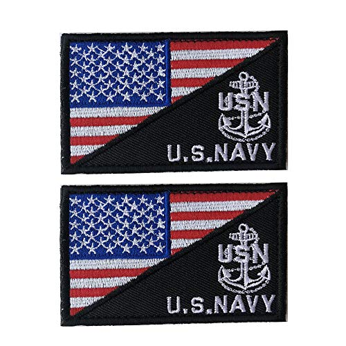 X.Sem U.S.Navy USN Patch - 2 Pack Tactical Patches Embroidery Morale Emblem (Red White(Anchor))