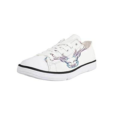 144d3c79bd0eb Amazon.com | Canvas Sneaker Low Top Shoes, Antler Decor, Hand Drawn ...