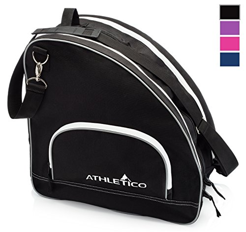 Athletico Ice & Inline Skate Bag - Premium Bag to Carry Ice Skates, Roller Skates, Inline Skates for Both Kids and Adults (Black with White Trim)