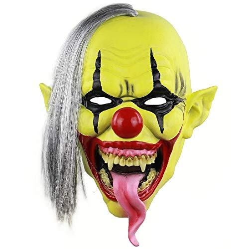 Evil Clown Mask – Demonic Snake Tongue Scary Halloween, One Size Fits All Adult Latex, Yellow Evil Clown Mask