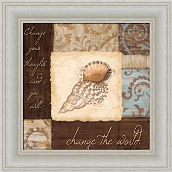 Change The World By Jane Carroll Seashell Bathroom Decor Art Print Framed Picture