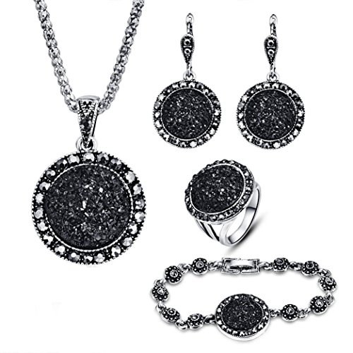 - Celendi_ Jewelry Set Circular Stone Ring Alloy Chain Earring Stud Bracelet for Women