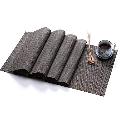 BeesClover PVC Solid Colour Table Runner Imitation Bamboo Grain Knitted Table Cover Decoration Dark Gray Vertical Stripes 225X30cm (Single Weight 425g)