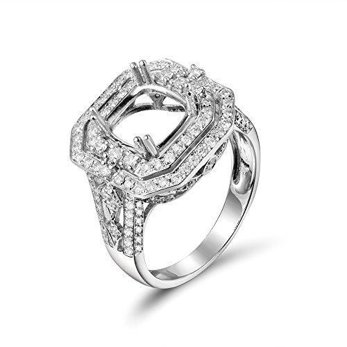 (Lanmi Women's 8X8mm Cushion 14K White Gold Round Natural Diamond semi Mount Ring Set)