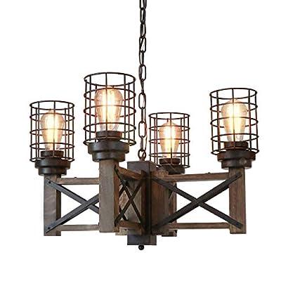 "Eumyviv Wood Farmhouse Cage Rustic Chandelier Kitchen Island 4 Lights, 23.9"" Industrial Dinning Table Pendant Lamp Vintage Edison Ceiling Light Fixture, Brown & Black(C0074)"