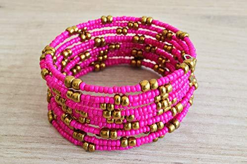 African Bracelet for Women - Maasai Jewelry - Beaded Wrap Bracelet - Handmade in Kenya - Hot Pink/Golden, KB018