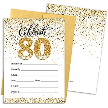 White And Gold 80th Birthday Party Invitations