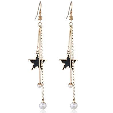 Amazon Com Lgxh Sexy Pearl Long Drop Chain Earrings Simple Star