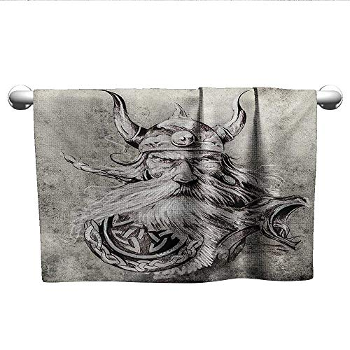 alisoso Tattoo,Kids Towels Artistic Pencil Drawing of a Brave Viking Warrior with Armour Image Adventure Absorbent and Super Soft Towels Grey and White W 35