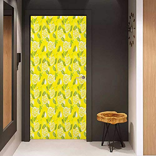 Onefzc Wood Door Sticker Spring Fresh Lemon Slices with Leaves Background Soft Fruit Summer Tasteful Design Easy-to-Clean, Durable W36 x H79 Yellow Fern Green ()