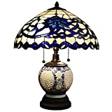 Warehouse of Tiffany DYL451-743 3 Light Akiko Glass Double-lit Tiffany-Style Table Lamp - 21