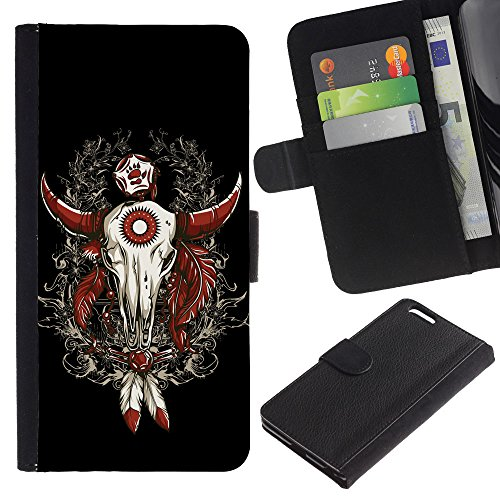 EuroCase - Apple Iphone 6 PLUS 5.5 - Cool Western Buffalo Skull Dreamcatcher - Cuir PU Coverture Shell Armure Coque Coq Cas Etui Housse Case Cover