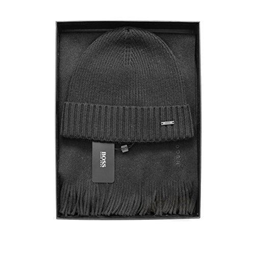 BOSS Hugo Cable Knitted Scarf/Beanie 'ALBAS' Gift Set Black, Charcoal, Dark Blue ONE Size (Black)