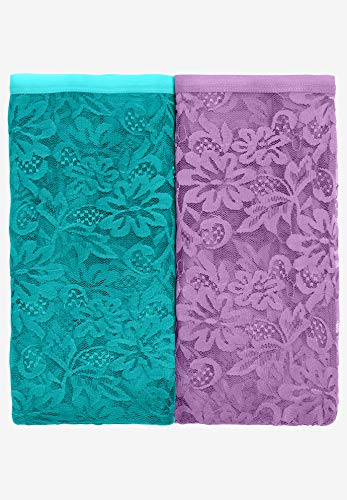 Comfort Choice Women's Plus Size 2-Pack Lace Full-Cut Brief - Violet Jade Pack, 14