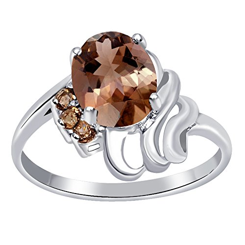 Oval Shaped Faceted Smoky Quartz 925 Sterling Silver Ring for Women and Girls, Best Gift, Perfect for Engagement, Anniversary, Mother Day, Free Gift Box (1.55 Cttw, 9x7 MM, Available in Size 6, 8) (Quartz Ring Smoky Oval Faceted)