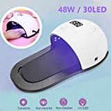 UV Led Nail Lamp - 48W Nail Dryer for Gel/CND Shellac Nail Lamp with Handle And Removable Bottom Plate
