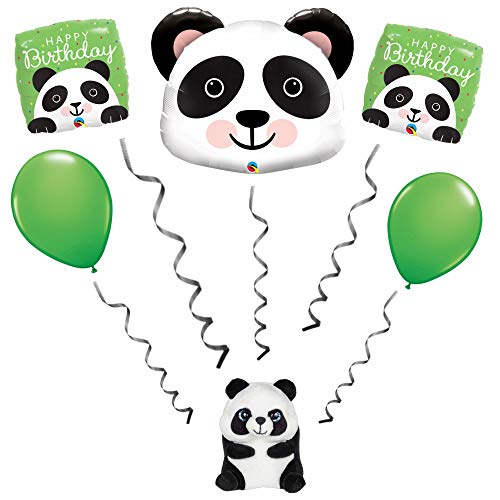Panda Bear 5 Piece Balloon Bouquet with Panda Bear Balloon Weight Farm Birthday Party Decorations Supplies (Weight Balloon Bear)