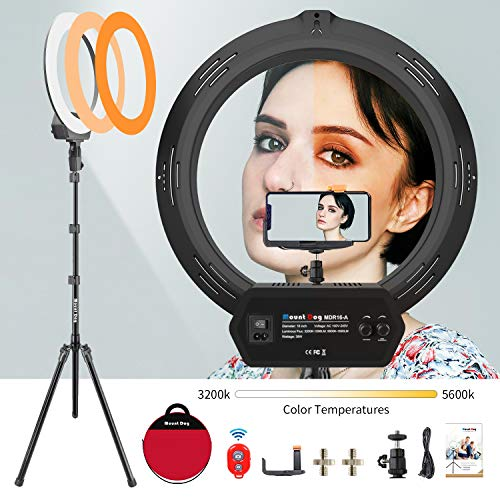 """MOUNTDOG 16"""" Ring Light Kit Led Wireless Remote with Adjustable Light Stand Phone Holder Carrying Bag for Streaming"""