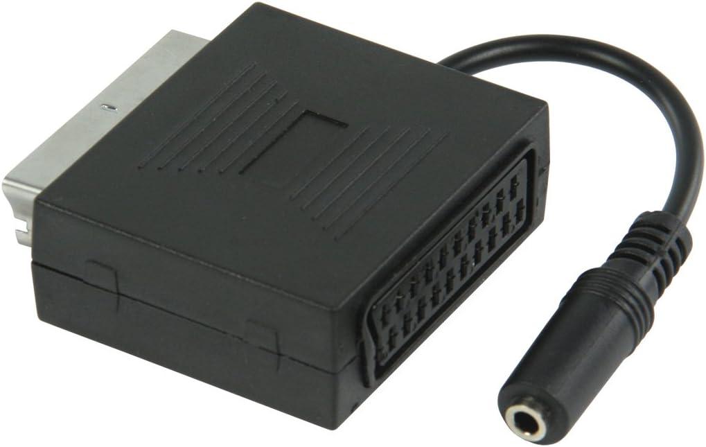 Valueline VLVP31930B02 – Adaptador SCART macho a SCART hembra con salida de audio para auriculares estéreo de 3,5 mm hembra, euroconector con salida para auriculares estéreo, color negro