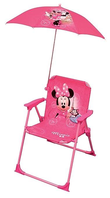 Fun House Minnie Silla Plegable + Sombrilla para niña, Rosa